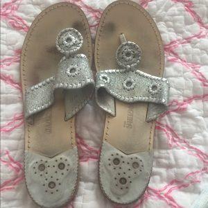 Silver glitter Jack Rogers Sandals, size 11
